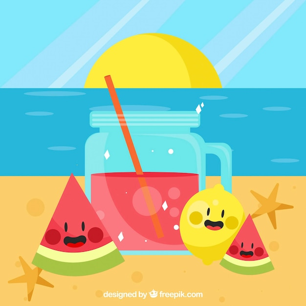 Beach background with juice and nice fruits