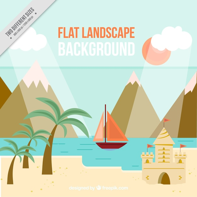 Beach background with mountains and boat in\ flat design