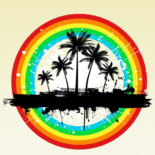 Beach Background with Rainbow