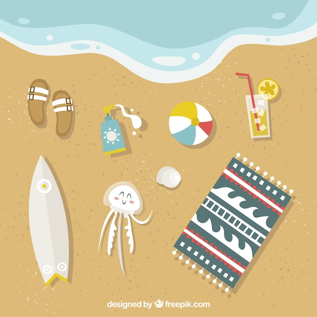 Beach background with summer elements Free Vector