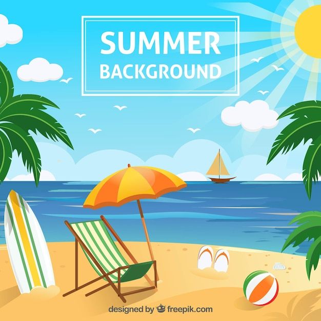 Beach background with summer objects Free Vector