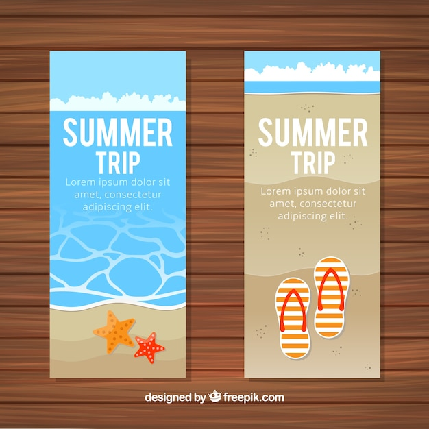 Beach banners with flip flops and starfish Free Vector