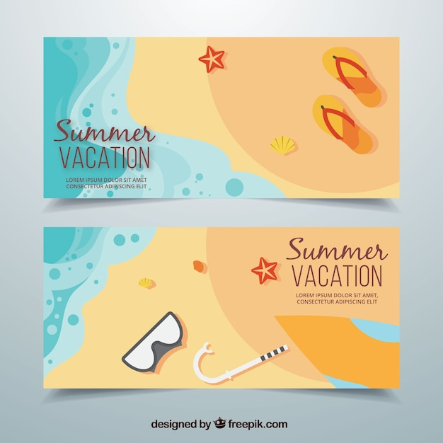 Beach banners with summer objects in flat\ design