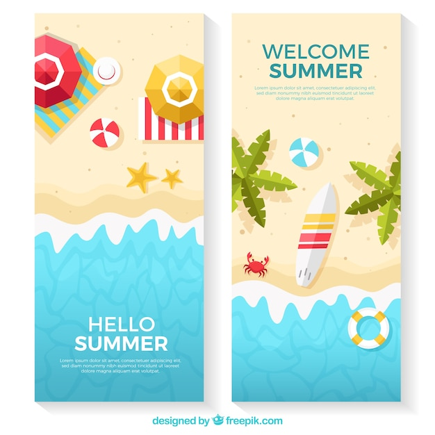 Beach banners with variety of flat items Free Vector