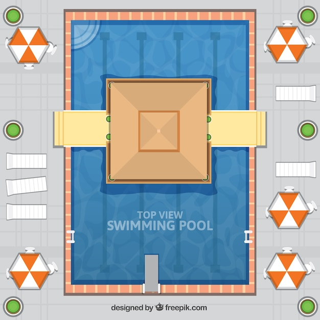 Beach bar in a swimming pool in flat\ design