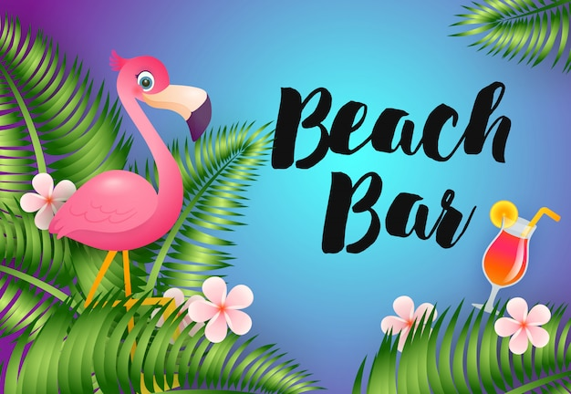 Beach bar lettering with flamingo and cocktail Free Vector