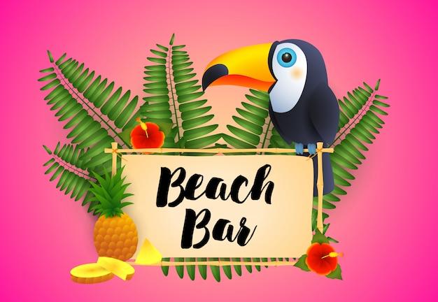 オオハシとパイナップルのビーチバーレタリング 無料ベクター