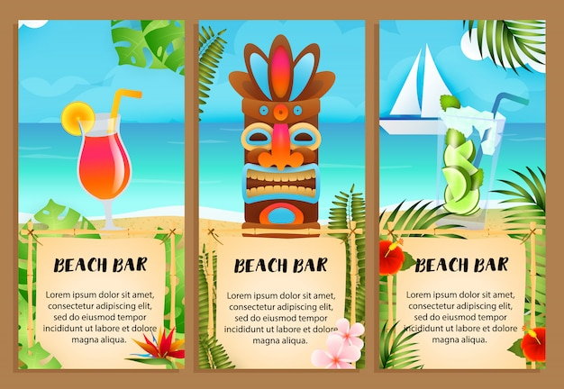 Beach bar letterings set, cocktails and tribal mask Free Vector