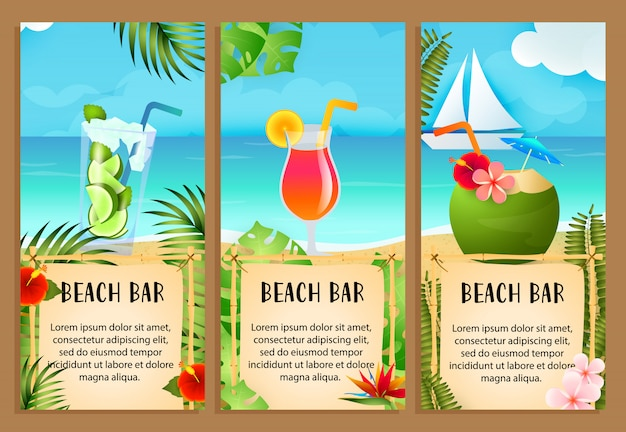 Beach bar letterings set with sea and exotic cocktails Free Vector
