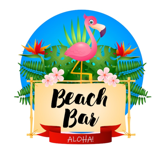 Beach bar poster Free Vector