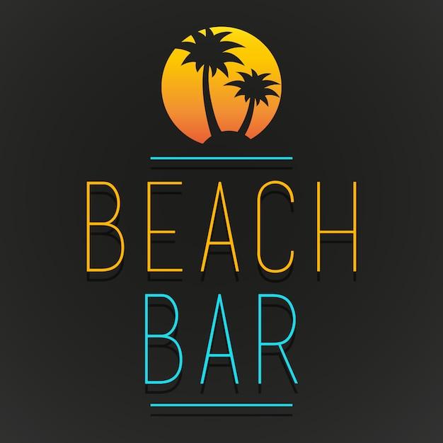 Beach bar tree palm beach logo Premium Vector