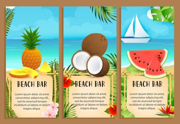 Надписи beach bar с кокосом, ананасом и арбузом Бесплатные векторы