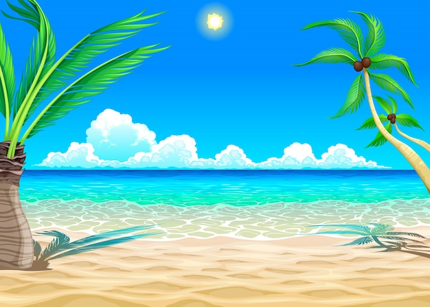 Beach cartoon illustration Free Vector