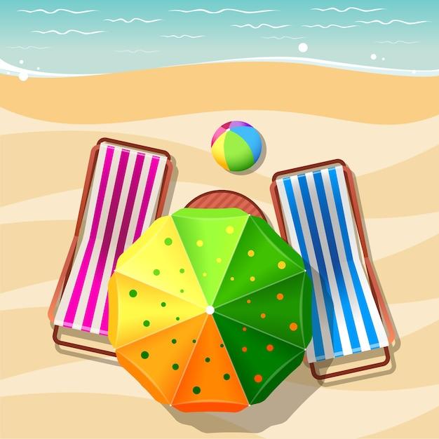 Вид сверху шезлонг и зонтик. отдых, релаксация, летний туризм, море и песок Бесплатные векторы