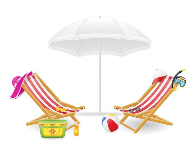 Beach chair and parasol Premium Vector