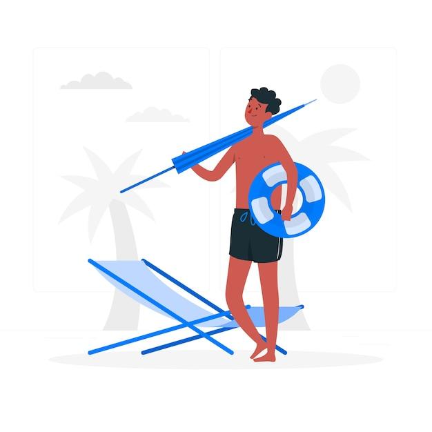Beach concept illustration Free Vector