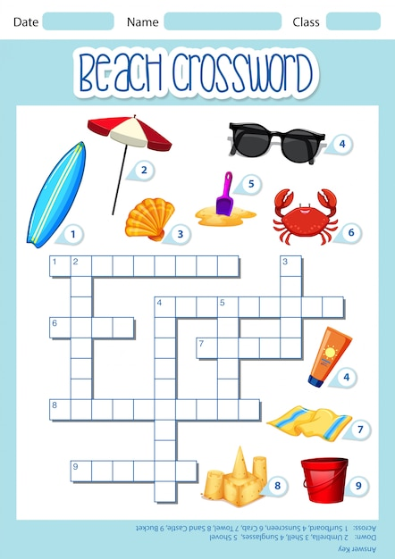 Beach element crossword template Free Vector
