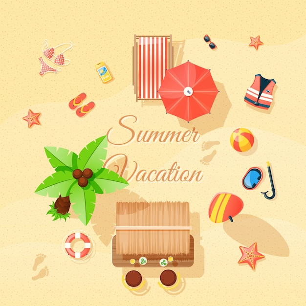 Beach elements set top view poster Free Vector