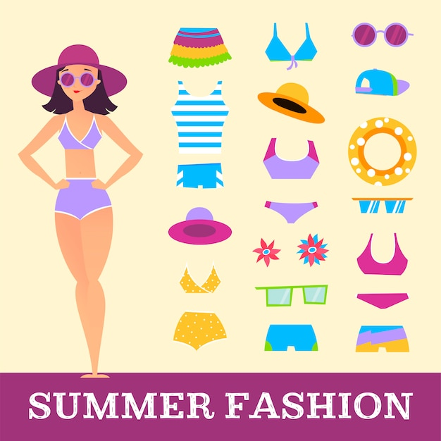 Beach fashion. girl and miscellaneous clothes accessories. cartoon style Premium Vector