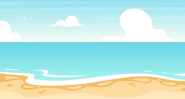 プレミアムベクター ビーチフラットイラスト 夏 の海 海の風景の背景 バケーションリゾート 島の海岸線 日当たりの良い楽園 ターコイズブルーのラグーン 海の景色の漫画の背景 壁紙