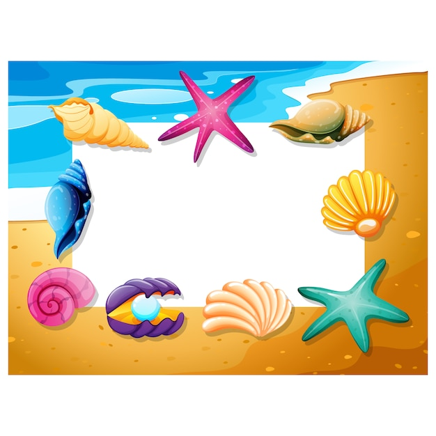 beach frame design free vector