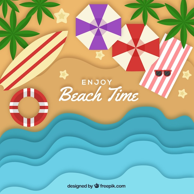 Beach from the top background in paper\ style