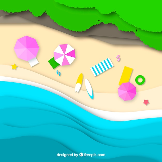 Beach from the top with paper style