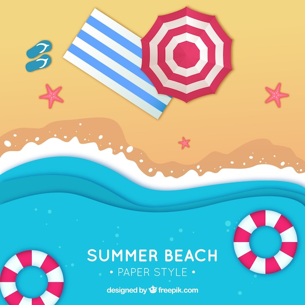 Beach from the top background in flat style Free Vector
