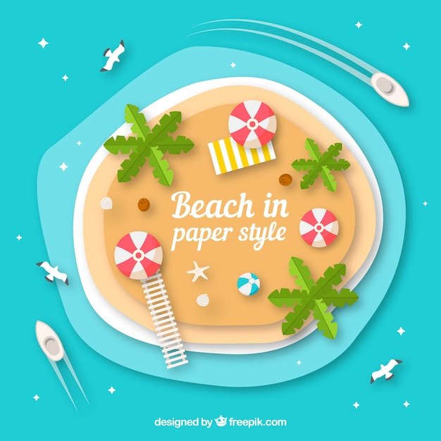 Beach from top background in paper style