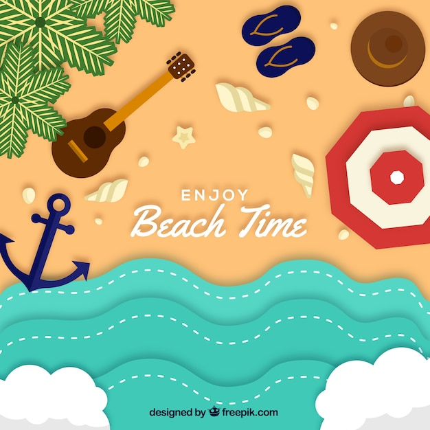 Beach from the top background in paper style Free Vector
