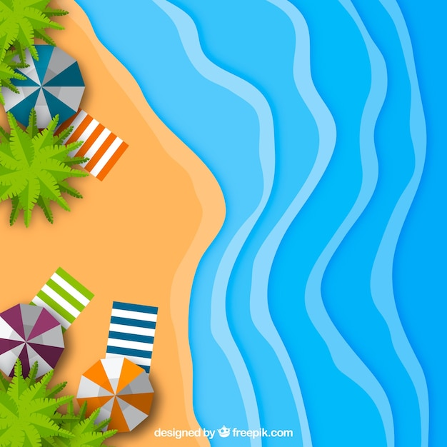 Beach from the top in paper style Free Vector