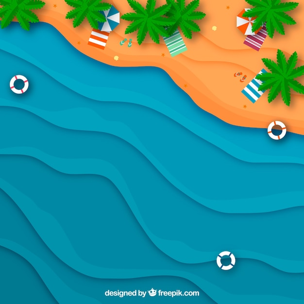 Beach fron the top in paper style Free Vector