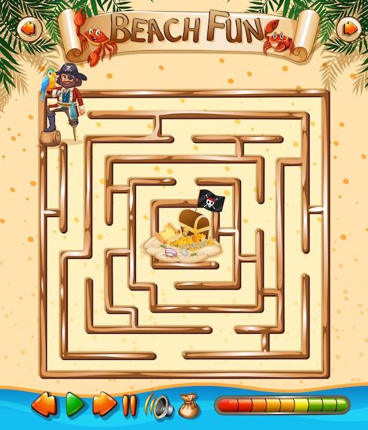 Beach fun maze game template Free Vector