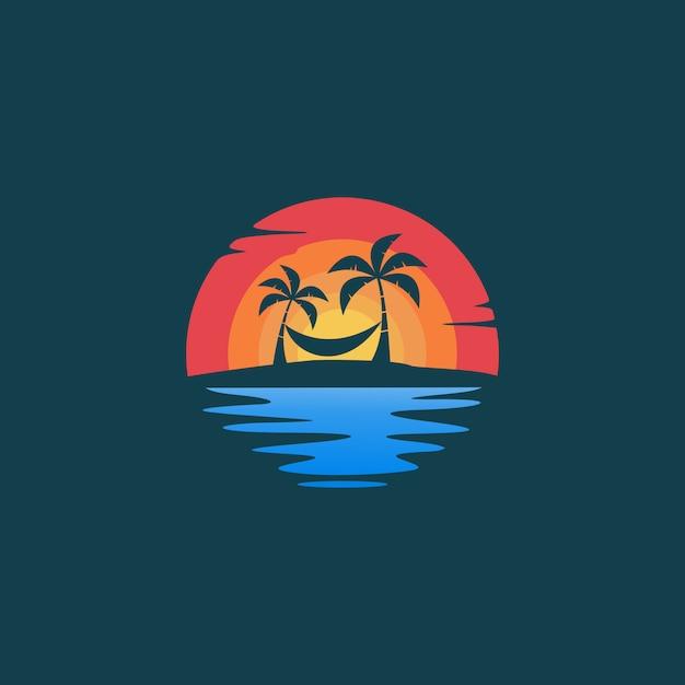 Beach hello summer logo Premium Vector