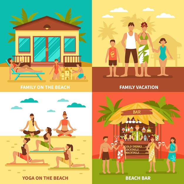 Beach holiday design concept Free Vector