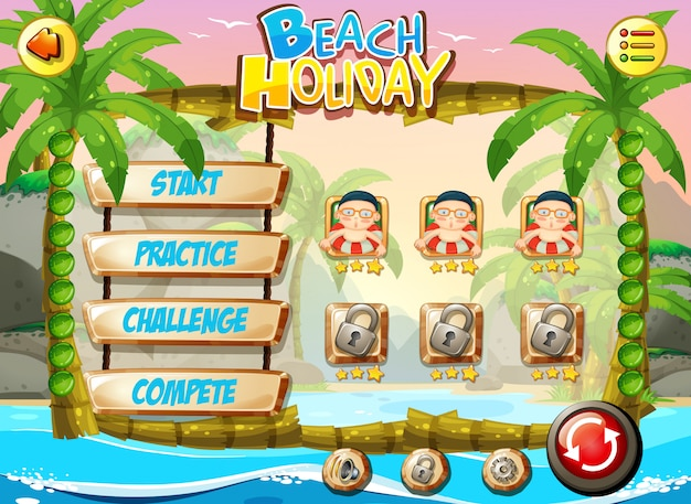 Beach holiday game template Free Vector
