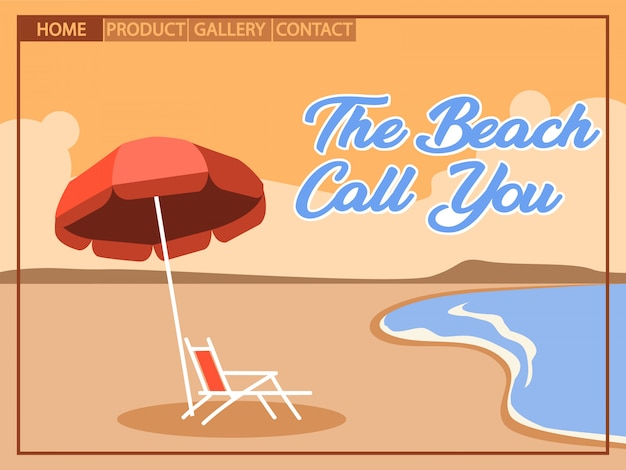 Beach holiday with cubism  art style for homepage design Premium Vector