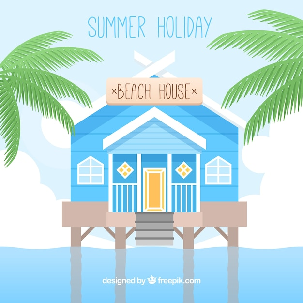 Beach house background in flat design vector free download for Beach house 3 free download