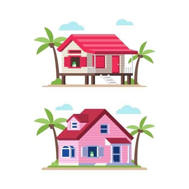 Beach house illustration in flat style Premium Vector