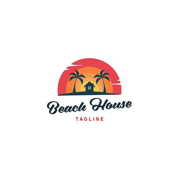 Beach house logo design vector illustration Premium Vector