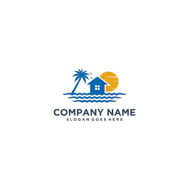 Beach house logo. wave logo design concept Vector ...