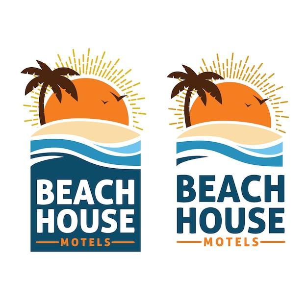 Beach house logo Premium Vector