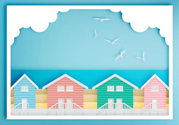 Beach house with ocean background frame paper art style Premium Vector