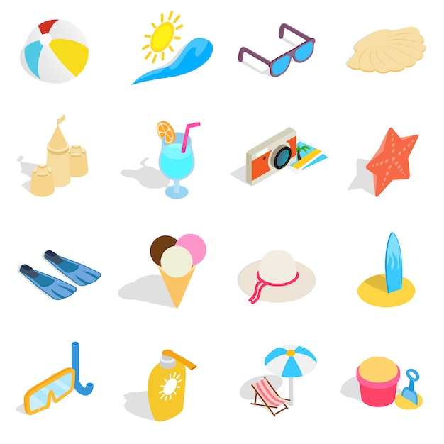 Beach icons set in isometric 3d style. summer holiday elements set collection vector illustration Premium Vector
