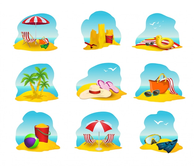 Beach icons set Free Vector