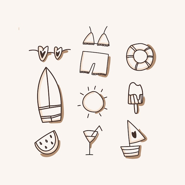 Beach icons, vacation, travel isolated Premium Vector