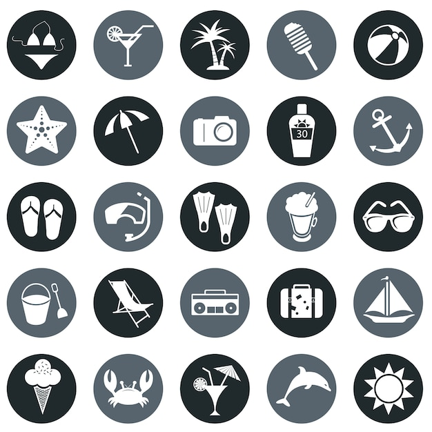 Beach icons Free Vector