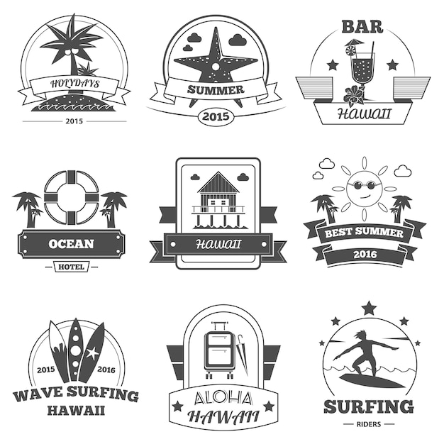 Beach label set Premium Vector