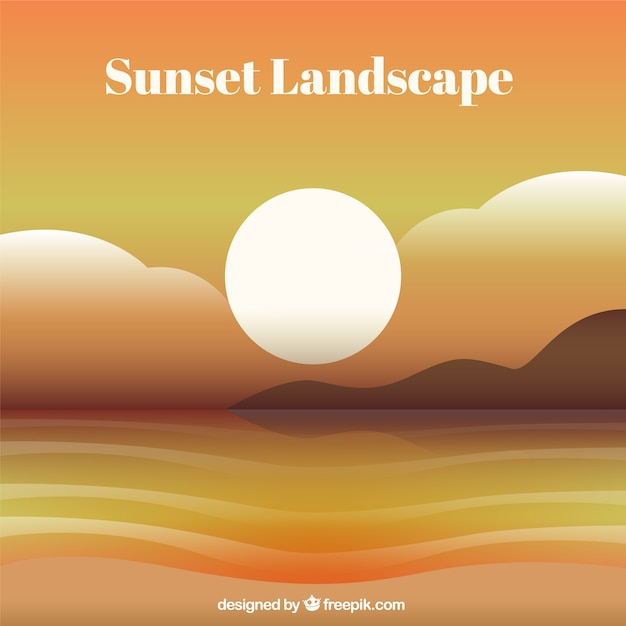 Beach landscape background at sunset