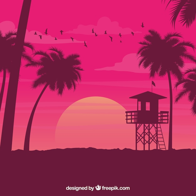 Beach landscape background at sunset